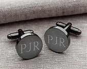 Personalized Round Gunmetal Cufflinks Groomsmen Gifts Engraved Cufflinks Gifts for Him Gift for Men Personalized Cufflink GC1331