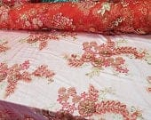 3D Floral with Pearls in Mesh Red Lace Fabric By Yard