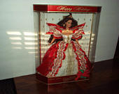 1997 Mattel Hallmark 10th Anniversary Happy Holidays BARBIE Doll in Lovely Red Satin White Lace Ribbon Gown (Special Edition) New Box, Rare