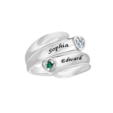 Personalized Promise Ring With CZ Birthstone in Sterling Silver