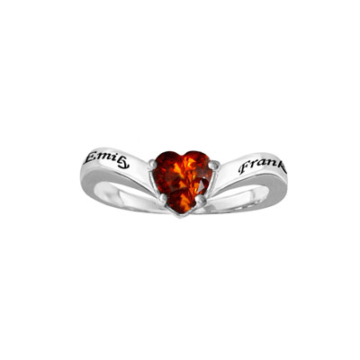 Promise Ring with Heart-Shaped Cubic Zirconia in Sterling Silver