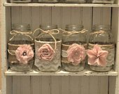 Baby Girl, Baby Shower Decorations, Wedding Centerpieces, Burlap Mason Jars, Jar not Included, Its A Girl, Bridal Shower Decorations