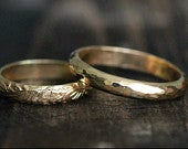 His Hers Couples Ring Set 14K Gold Wedding Band Engagement Ring Set GC01 w Secret Message By Pale Fish NY, R019