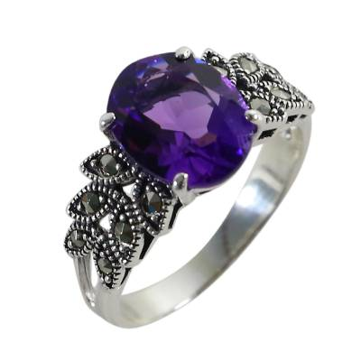 Amethyst and Marcasite Cocktail Ring from Thailand