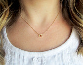 Initial Necklace / Monogram Necklace / Letter Necklace / Cursive Gold Letter / Tiny Script Initials / Bridesmaid Wedding Gift / Gold Initial