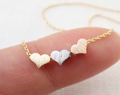 Tiny 3 hearts necklaces, gold, silver, and rose gold hearts on gold or silver chain...daint, simple, birthday, wedding, bridesmaid jewelry