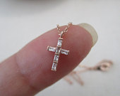 Tiny cross necklace, gold, rose gold or silver cross with cubic zirconia....dainty, everyday, simple, birthday, wedding, bridesmaid jewelry