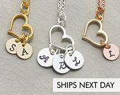 Open Heart Initial Handstamped Necklace Rose Gold Heart Jewelry Mom Personalized Initial Jewelry LoveDainty Minimalist Gift Plain Initial