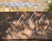 ALCOHOL Cocktail Hour Rustic Wedding Signs Wedding Bar Signs for Bride and Groom Handmade Wedding Table Sign Wooden Wedding Sign WS274
