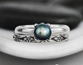 Pearl Engagement Ring Set and Flower Wedding Band Sterling Silver Art Deco Wedding Ring Set Forget Me Not Band Ring Pearl Bridal Set