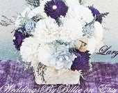 Wedding Table Centerpiece, Plum Sola Flowers, Custom Colors Available, Birch Wedding Centerpiece, Shabby Chic Country Rustic Centerpiece