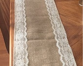 Burlap Trim Lace Table Runner with a Variety of Lace Color Options. Great for Weddings and Other Special Events. Rustic and Chic.