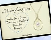 Mother of the Groom Gift from Groom, Sterling Silver Swarovski Crystal Pearl Necklace Wedding Gift for Mom, Mother of the Groom Necklace