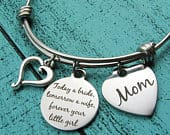 Mother of the bride gift, Mom wedding gift from bride, bridal gift for Mom from daughter, today a bride tomorrow a wife, brides Mom gift