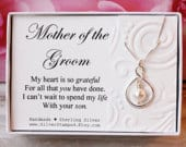 Mother of the Groom gift from Bride Sterling silver infinity necklace Swarovski pearl wedding bridal party gift for grooms mom