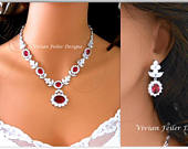 RED Wedding Jewelry Set Bridal NECKLACE and EARRINGS also Emerald Green, Clear, Sapphire Blue Flower Cubic Zirconia Mother of the Bride