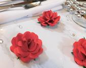 Bridal Shower Flowers, 12 Red Paper Flowers, Small Paper Flowers, Wall Paper Flowers Decor, Red Roses, Floral Bridal Shower, Floral Decor