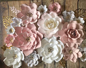 17 pieces set of paper flowers, adorable pink, white and gold polka dot set, paper flower wall decor, nursery wall decor, paper flower backd
