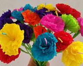 Cinco de Mayo, 12 Paper Flowers, Mexican Flowers, Crepe Paper Flowers, Wedding Decorations, Party Decor, Altar Flowers, Day of the Dead