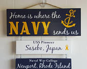 Home is where the Navy sends us, Navy Sign, Patriotic Wall Dcor, Navy Retirement Gift, Duty Station Sign, Legacy sign, Proud Navy Family