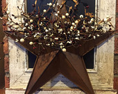 Barn Star with Pip Berries, Wall Pocket Star with Pip Berries, Americana Decor, Patriotic Decor, Rustic Decor, Primitive Star, Free Shipping