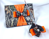Mossy Oak Satin Camo Wedding Guest Book with Orange Accents and Matching Pen