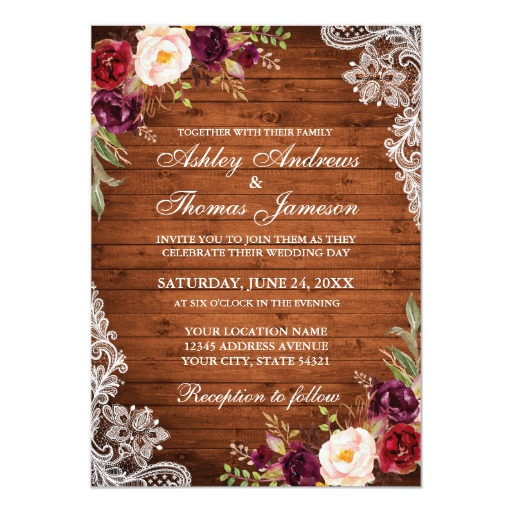 Rustic Wedding Wood Burgundy Floral Lace Invite