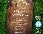 Wedding Invitation, Rustic wood and lights, barn wedding, Instant Download Self editable, Edit with Templett, A201