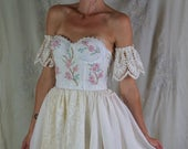 RESERVED Meadow Gown... photoshoot wedding formal dress boho whimsical hand embroidered woodland fairy tale vintage eco friendly
