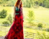 In stock available to purchase Red silk halter boho chic wedding gown with the blue flash