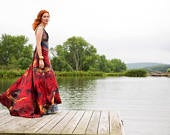 In stock and available boho bridal red wedding chic bridal gown mother of the bride dress colored wedding gown
