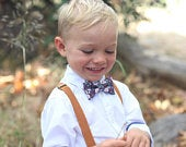 Dark Burgundy Floral Bow Tie Camel Leather Suspenders PERFECT for Ring Bearer or Page Boy Outfit, Groomsmen, Fall Wedding
