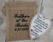 Wedding Tie Patch Gift from Bride to Dad Wedding poem gift Iron on patch Wedding keepsake Custom embroidery Embroidered patch A53