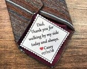 2 Wide TIE PATCH Father of Bride, Father of the Groom, Personalized Patch, Gifts for Dad, Little Heart Accent, Iron On, Sew On