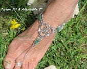 Jade Stainless Steel Barefoot Sandals, boho wedding foot jewelry, Beach Wedding chain slave anklet toe ring Silver HEART jewelry BRIDAL Gift