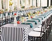 Tablecloth, Black and white stripe, Wedding table cloths, Graduation table cloth, Birthdays,receptions.