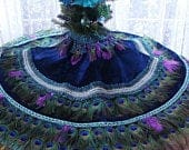 DUAL USE 48 Peacock Feather Christmas Tree Skirt Tablecloth in your choice of colors