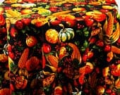 Autumn Fall Harvest Print Tablecloth Themed Pumpkin Corn Thanksgiving Custom Table Cover Cloth, Orange Yellow Round Rectangle Oval 70 18 9 2