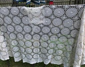Antique Handmade Off White Elegant Formal Dining Lace Floral Tablecloth Holiday Oval 88 x 58 Table Linen Wedding Gift for Her