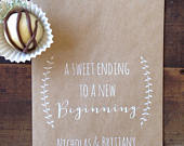 Wedding Cookie Bags Candy Buffet Sacks Custom Wedding Favors Recycled Kraft Paper Personalized Printed Bag White Ink Print