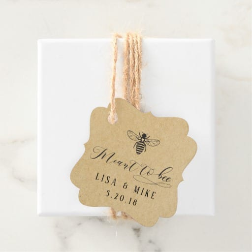Rustic Kraft Meant to Bee Honey Wedding Favor Tags