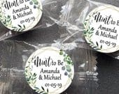 Printed Mint Stickers for Favors / Lifesaver Mints / 1 inch Circles / Wedding Favor Mint to Be / Greenery Geometric Flowers / SET OF 126