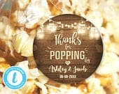 Thanks For Popping By Gift Tag Birthday Party Favor Tag Popcorn Stickers Rustic Wood Lights Editable Template DIY Templett Printable 0015