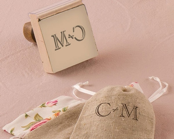 Personalized Rubber Stamp Burlap Chic Monogram