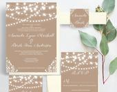Rustic, Country, String Lights, Burlap, Lace Wedding Invitations, Romantic Invites, Wedding Invitation Set