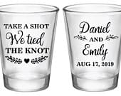Wedding shot glasses personalized wedding favors personalized shot glasses take a shot we tied the knot, wedding favors for guests