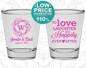 Wedding Shot Glasses, Custom Shot Glasses, Love Laughter Happily Ever After, Wedding Favors, Personalized Glassware, Custom Shot Glass (C61)