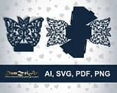 Wedding Favor Box Template Butterfly Laser cut (ai, svg, pdf, png) vector file pattern, ornamental panels Download