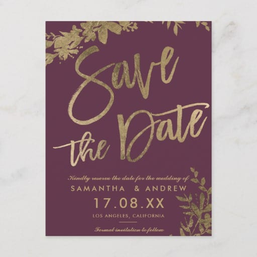 Gold typography leaf floral plum save the date Announcement Postcard