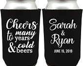 Personalized Wedding Can Cooler, Cheers to Many Years and Cold Beers, Customized Wedding Favor, Custom Can Cooler, Beer Huggers